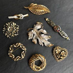 Vintage Brooch Lot Large Leaf Circle Heart Pin